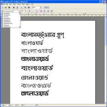 BanglaSoftware Group. BanglaWord  processor software screen grab: Demonstration with various fonts, all fonts in this demonstration were automatically converted by our applicaiton. We can convert between Lipi, Bashundora, Bornali as well as many other fonts that work with popular keyboard systems such as Bijoy, Proshika, Ekushy and more.  Note that not all fonts may be enabled yet though.